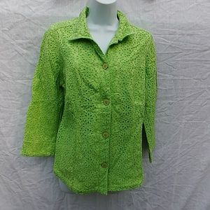 Chico's Eyelet Lace Geen Shirt Button Size 1